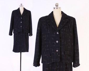 Vintage 50s Tailored SUIT / 1950s Black and Pink Fleck Pencil Skirt & Blazer Jacket Set S