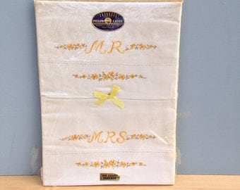 Vintage Mr and Mrs Pillow Cases in Original Packaging, Yellow Embroidered Flowers, Novelty Embroidery, vintage Wedding Gift