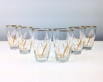 Vintage Drinking Glasses Wheat Design by Libbey Glass, Set of Six, 1960s Kitchen Dining, Mid Century Dining