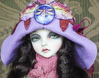 Purple Felt Flapper Style Hat With Irridescent Dragonfly Button and Layers of Hand Dyed Lace For Ball Jointed Dolls
