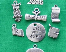 Graduation Charm Collection Antique  Silver Tone 8 Different Charms Year 2016 - COL195