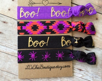 Boutique Halloween spider Boo! elastic Hair Ties  4 pack - awesome beenbooed gift