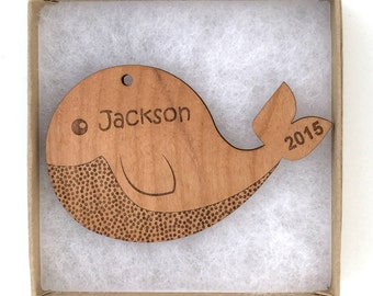 Whale Christmas Ornament, Aquatic/Ocean Animal Ornament, Personalized Wood Whale Ornament, Custom Engraved Baby Ornament Wood Whale Gift Tag