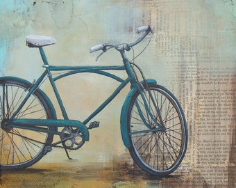 Art Print, titled Blue Bicycle, mounted to wood panel, Bicycle Art