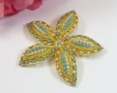 Vintage 1960s Signed Sarah Coventry Goldtone Turquoise Faux Pearl Starfish Pin Brooch, Starfish Brooch Pin, Signed Vintage Brooch Pin