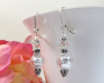 Ice Crystal Clear Murano Ruffles Earrings, Venetian Murano Ice Crystal Glass with AB Swarovski Crystal and Sterling Leverback Earrings