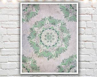 mandala wall art - bohemian art - mandala art prints - boho decor - pastel lavender green - henna artwork