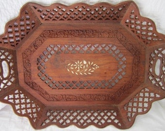 """Large vintage carved teak wood inlaid oval tray polygon tray serving catchall floral nature inspired 21"""" by 15.5"""""""