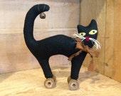 Halloween Black Cat on Vintage Wood Spool Primitive Folk Art JKB