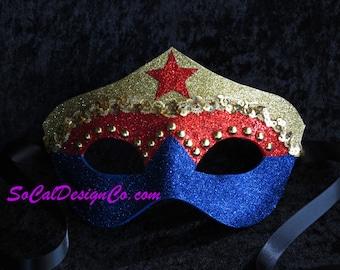 Superhero, Leather Mask, Womans Masquerade Mask, Gold Mask, Hero Mask, Masquerade Mask, Glitter Masks, Venetian Mask
