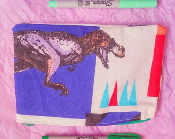 upcycled Jurassic Park Trex  vintage style zipper pencil bag cosmetic bag