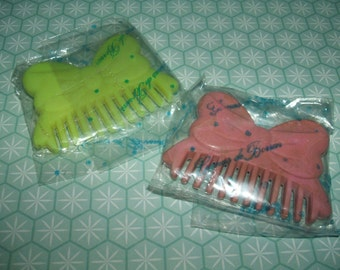 Rare Vintage 1980s Sealed Pink & Yellow Comb erasers rubbers gommes gommine 消しゴム