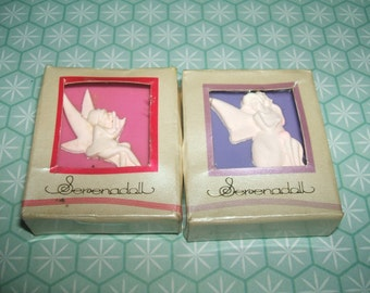 Ultra Rare Vintage 1980s Kutsuwa Serenadoll Boxed Pink & Purple Angel erasers rubbers gommes gommine