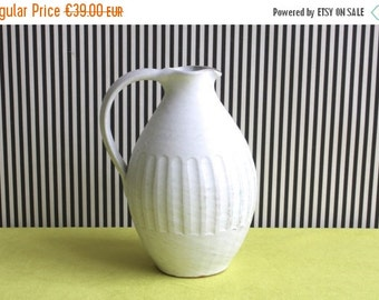 Summersale Handmade Studio Pottery Matte White Pitcher Vase
