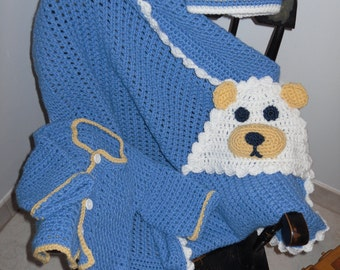 Baby Blanket Hooded Teddy Bear Sweater and Hat Set