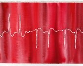 Atrial Fibrillation in Red  - original watercolor ekg painting - framed