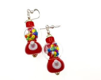 Bubble Gum Machine Earrings, Candy Glass Bead Earrings, Red Gumball Machine Lampwork Earrings, Colorful Drop Earrings, Casual Earrings