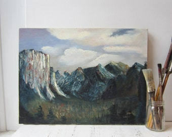 Vintage Oil Painting - Dark Mountain Landscape