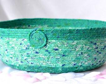 Spring Green Basket, Handmade Floral Fabric Basket, Pet Bed, Kozy Cat Bed, Emerald Green Magazine Basket