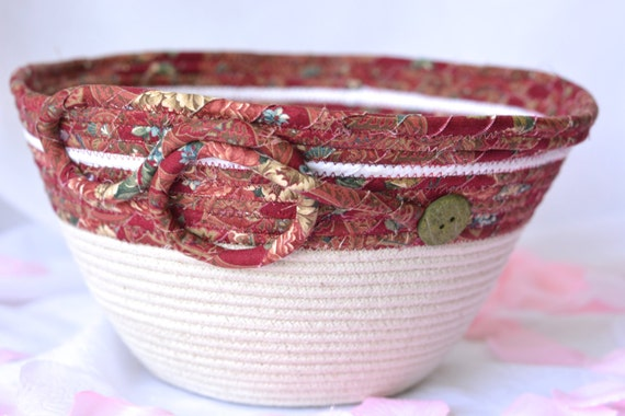 Rustic Clothesline Basket, Handmade Maroon Mail Holder, Beige Bowl Organizer, Coiled Fabric Basket, Remote Control Holder