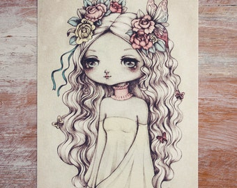 The Spring Princess - Open edition art postcard - made to order