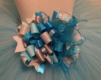 Turquoise and Silver Over The Top Hair Bow