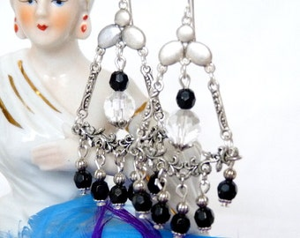 SALE!! Black & Silver Lotus Chandelier Earrings SALE!!