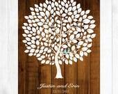 Wedding Guest Book Alternative Print Wood Wedding tree Rustic Wedding Tree Guest's Signatures - 17x22 -160 Signature Wedding Guest Book tree