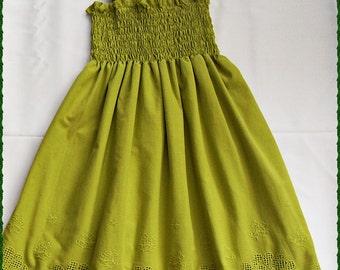 Olive green beach flower girl dress, Beach wedding flower girl dress, Olive green dress for girls, party dress, Olive green eyelet dress,