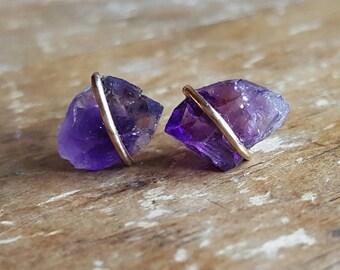 Girlfriend Gift Amethyst Earrings Stud Earrings February Birthstone Jewelry Womens Amethyst Crystal Gemstone 14K Gold Studs Amethyst Studs