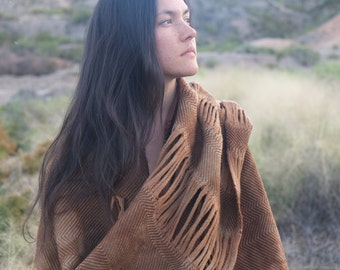Primal Nature - Modern Heirloom Handwoven and Felted Sculptural Merino Scarf - Naturally Dyed With Black Walnuts