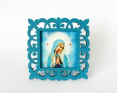 Medium Holy Mother print in lovely hand painted frame for your altar,  Keepsake,  Holiday gift
