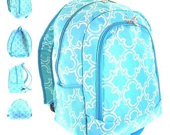 Personalized  Girls QUATREFOIL  Backpack  Turquoise Quatrefoil