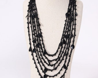 Layered Crochet Bead and Charm Necklace Boho Bohemian SALE