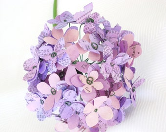 paper hydrangea in purple shades recycled book pages and cardstock for alternative bridal bouquets bridesmaid Mothers day centerpieces