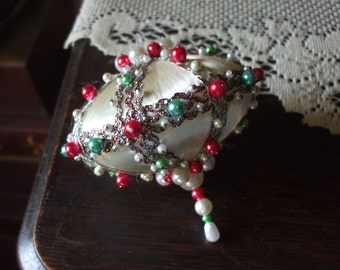 Vintage Handmade Christmas Ornament White Satin Saucer Shaped Ball Red & Green Beads Pearls Metallic Trim 1970's OOAK