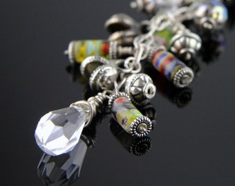 Sterling and Glass Multi-Colored Beaded Chain Necklace