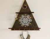 Jewelry rack, jewelry organizer, moon mandala, jewelery hanger, boho room decor
