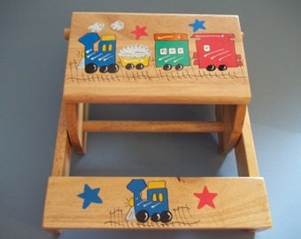 TRAINS Hand Painted Personalized Step Stool