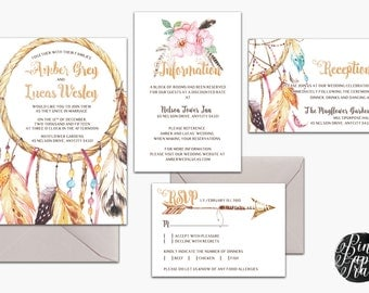 Printable Bohemian Wedding Invitation Suite - Dream Catcher, Feathers, Tribal - Dreamy, Romantic - Customizable Text - DIY - Print Your Own