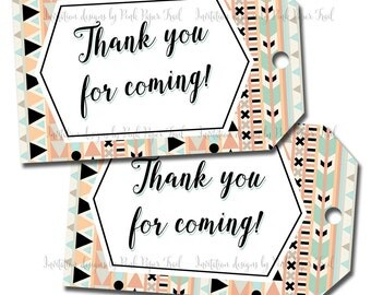 Tribal Party Thank You Tags - Favor Tags - Instant Download - Print Your Own