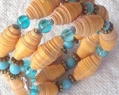 Turqoise and apricot, bracelet, proceeds to charity, recycled, upcycled,