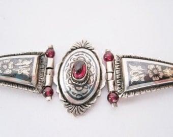 Vintage Greek Chain Bracelet, Silver and Niello with Garnet Bracelet