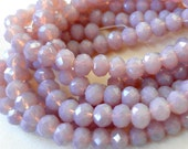 "TWO STRANDS Light heather purple lavender faceted rondelle crystal beads, 8mm, 35 pieces, 8.5"" strand"