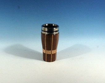 Caribbean Rosewood with Hickory Accents Wooden Travel Mug With Stainless Steal Interior