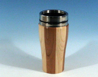Hickory and Cherry Wooden Travel Mug With Stainless Steal Interior