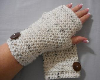 Crochet Fingerless Mittens, Crochet Fingerless Glove, Women's Glove, Wrist Warmer, Hand Warmer, Texting Glove, Women's Gift,, Ivory Tweed