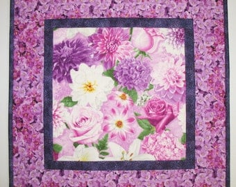 Floral Table Topper or Wall Hanging, Pinks and Violets, fabric Wilmington Prints