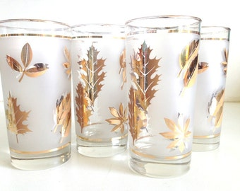 Vintage Frosted Gold Pine Cone Glasses - Mid Century Modern Glassware Golden Pine Cone