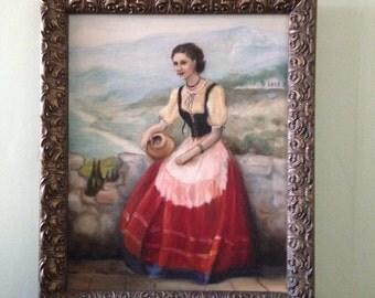 Sicilian Girl - 1971 Oil Painting